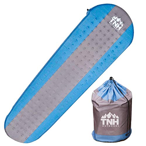 TNH Outdoors Premium Self Inflating Sleeping Pad Lightweight Foam Padding and Superior Insulation Great for Hiking & Camping Thick Outer Skin