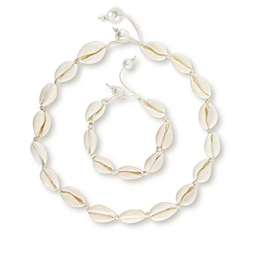 Daogtc Natural Cowrie Shell Necklaces Beads Handmade Beach Choker for Girls Women (White Necklace + Bracelet)