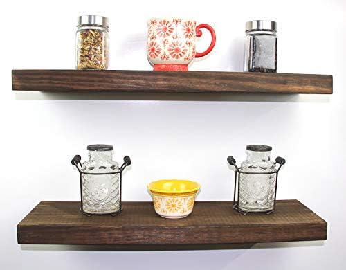 SOLID RUSTICS Handmade Rustic Wood DEEP Floating Wall Shelves, Walnut, Set of 2 Walnut, 24 W x 7 1 4 D x 1 1 2 H