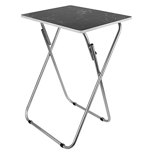 Home Basics Multi-Purpose Sturdy and Durable Decorative Bedside Laptop Snack Cocktails TV Folding Table Tray Desk Bedside Laptop Snacks Black Marble by Home Basics (Image #1)'