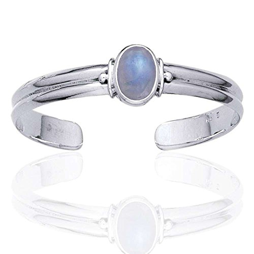 Adjustable Sterling Silver Cuff Bracelet with a 5.5ct Genuine Rainbow Moonstone Center Gem
