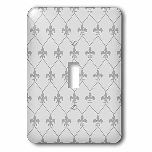 3dRose lsp_171853_1 Vintage Grey Fleur De Lis Wallpaper Connected In Diamond Shape Pattern Toggle Switch,