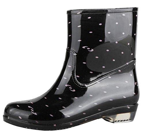 Idifu Womens Confortable Imprimé Bottes Wellies Bottes De Pluie Cheville Chaussures En Caoutchouc Noir 1