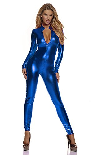 [Women's Shiny Liquid Metallic Wet Look Zipper Front Catsuit (OneSize, Dark Blue)] (Spandex Suits)