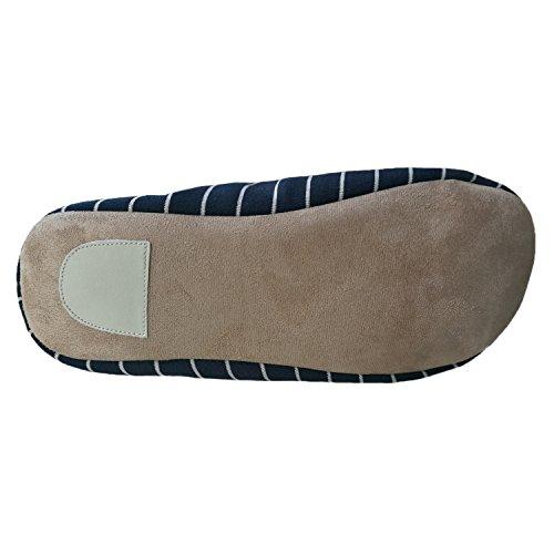 Bestfur Hombres Winter Warm Comfortable Cotton Home Slippers Azul