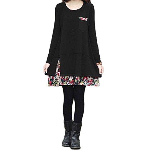 Nonbrand–Vestido de manga larga para mujer, ribete de gasa con diseño de flores, invierno negro