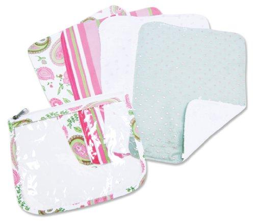 Trend Lab 4 Pack Zip Pouch Burp Cloth Set, Paisley Park