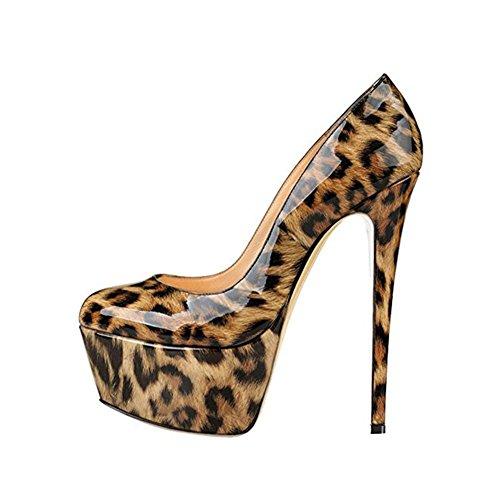 di pelle Scarpe Testa Piattaforma PU singole Donna Vera alto Casual Tondo da 45 Size YWNC tacco Large con leopard 40414243444546 donna Fine base Nero Pompa q7zfwTfR
