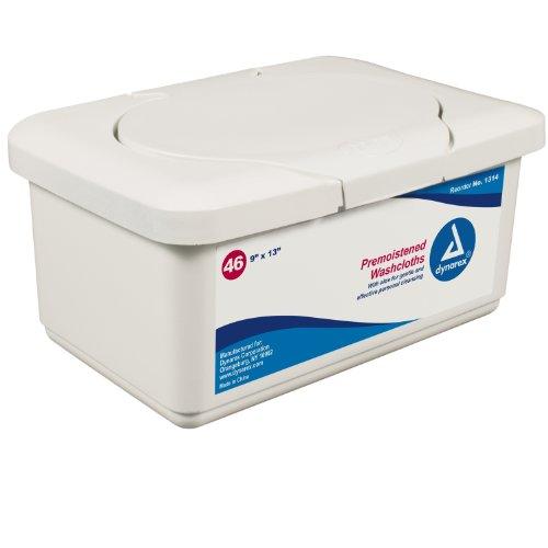 Premium Premoistened Adult Washcloths (Dynarex 1314 Personal Cleansing Adult Washcloth 9x13 Regular Tub - 12/46/Case)