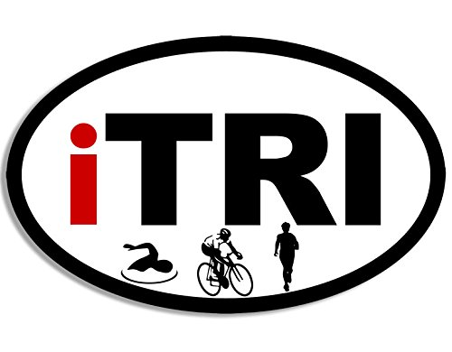 (American Vinyl Oval iTRI Swim Bike Run Logos Sticker (i tri triathlon triathalon icons))