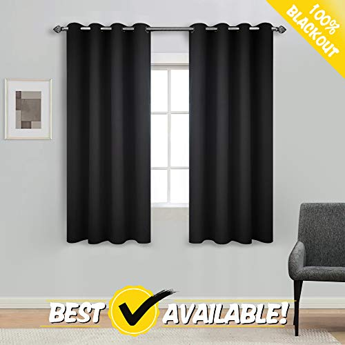 """(ECODECOR 100% True Blackout Window Curtain Panels for Bedroom Black 63"""" Thermal Weave Contemporary Eco-Friendly Short Window Drapes 2 pcs, Grommet Top )"""