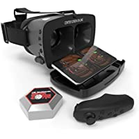 Tzumi Dream Vision Pro VR Smartphone Headset – Adult Unisex Bluetooth Compatible Virtual Reality Headset - Includes Remote Controller and Retractable Bluetooth Earbuds for Enhanced Immersive Gameplay