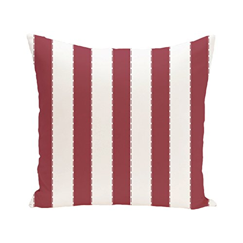 E By Design OFPSN133RE5 Bold Stripe Decorative Outdoor Floor Pillow, Brick (Floor Designs For Patio Brick)