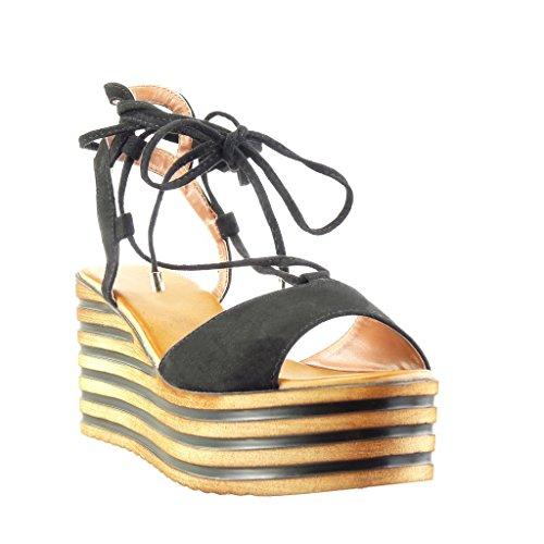 Angkorly - Chaussure Mode Sandale Mule plateforme femme lignes lacets lanière Talon compensé plateforme 8 CM - Noir