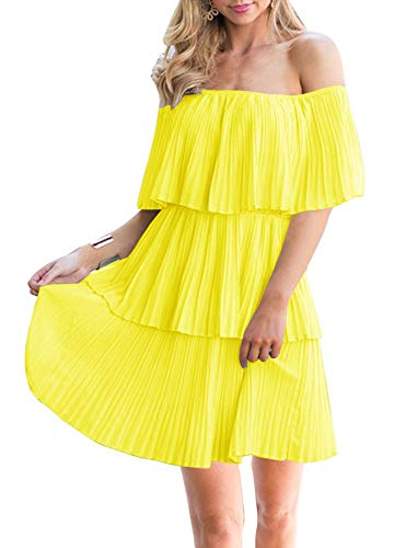 Soesdemo Women's Casual Off The Shoulder Sleeveless Tiered Ruffle Pleated Short Party Cocktail Dress Yellow ()