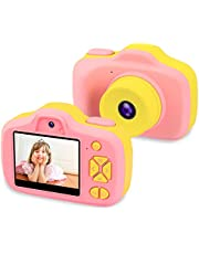 """Kids Digital Camera Gifts for 3-9 Year Old Girls, 8MP 2.3"""" LCD Rechargeable HD Front/Rear Selfie Digital Toddler Camera, 1080P Video Recorder Action Preschool Toy Camcorders, Shockproof Soft Silicone Material for Indoor Outdoor"""