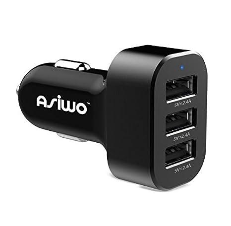 Cargador de teléfono USB del auto de Asiwo 3, cargador inteligente de auto de 7.2A/36W para el compatible iPhone X 8 7 6S 6 plus, Samsung Galaxy S9 S8 ...