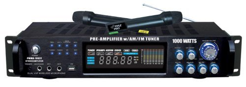 Bass Pro Shops Marine (Pyle 4 Channel Home Audio Power Amplifier - 1000 Watt Stereo Receiver w/ Speaker Selector, AM FM Radio, USB, Headphone, 2 Wireless Mics for Karaoke, Great for Home Entertainment System - PWMA1003T)