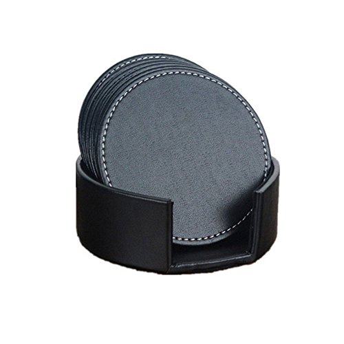E.Morningstar PU Leather Drink Coasters Table Mats with Holder for Cup Glass Tableware, Round Coaster, 4