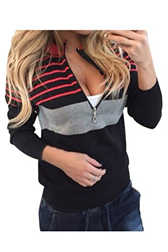 KAKALOT Women's Sexy Low Cut Deep V Neck Zipper Front Stripes Sweatshirts Tops XL Black