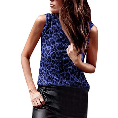 f9a57ebdd1 FarJing Women Leopard Print Vest Sexy Slim Sleeveless T-Shirts Tank Tops(L