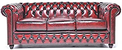 Original Chesterfield Sofa - 3 Seater - Full Real Hand Washed Leather - Antique Red