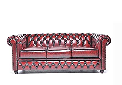 Original Chesterfield Sofa   3 Seater   Full Real Hand Washed Leather    Antique Red