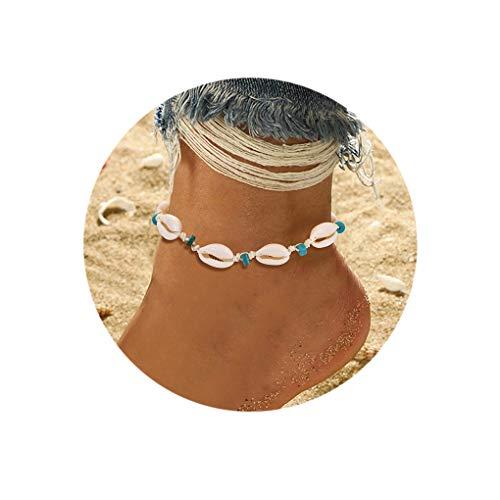 (BSJELL Shell Anklet Chain Handmade Natural Cowrie Ankle Bracelet Hawaiian Beach Puka Seashell Beaded Foot Jewelry for Women)