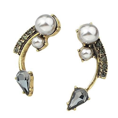 Geometric Spike (JD Million shop Fashion Rock Geometric Spike Earrings Bronze With Rhinestone And Simulated Pearl Stud Earrings)