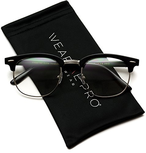 Vintage Inspired Classic Half Frame Horn Rimmed Clear Lens Glasses by WearMe Pro