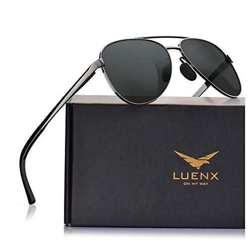 LUENX Men Women Aviator Sunglasses Polarized - UV 400 Protection Grey Non-Mirrored Lens Metal Frame with Accessories (Best Sunglasses For Fishing 2019)