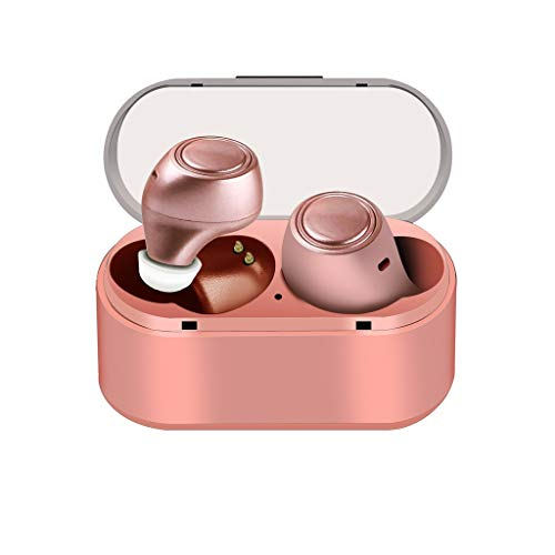 (Libison Bluetooth 5.0 Headphones, Wireless Earbuds Stereo Headset in-Ear Noise Canceling Earphone Cordless Sports Earpiece Compatible with Smart Phones IPX5 Waterproof (Rose Gold))