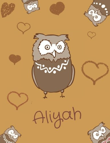 Aliyah: Personalized Aliyah name owl themed notebook, sketchbook or blank book journal. Unique owl personalised notepad. cute owl journals.