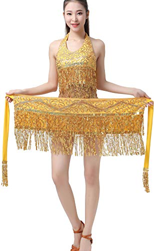 ZLTdream Lady's Belly Dance Halloween Costume Straps Bra Top with Chest & Hip Scarf with Fringe Sequin Gold ()