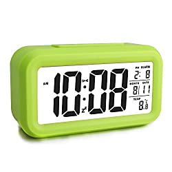 Ewtto Smart Digital Desktop Large LCD Display Alarm Clock with Calendar Temperature Snooze Backlight 4.6'' Display (Green, 4.6inches)