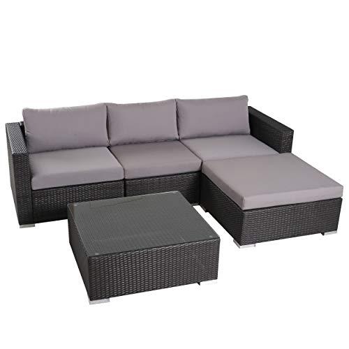 Francisco Patio Furniture Outdoor Wicker Conversation Chat Set Set 5 Piece, Grey