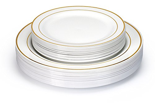 Fancy Combo 40 Disposable Plastic Plates (20 Appetizer + 20 Dinner) China look, Elegance Dinning Experience, Hassle Free Cleanup, Heavy Duty, Host Extravagant Party In Budget (Gold Ring)