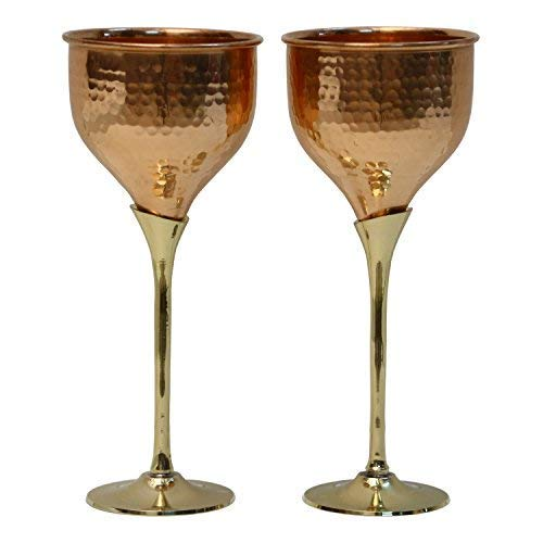 Staglife Wine Gobblets Cups and Mugs | Made from Pure Hammered Copper Set of 2 Mug | Capacity of each Cup 6 Ounce