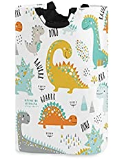 xigua Dinosaur Laundry Basket Large Laundry Hamper Foldable Dirty Clothes Toys Organizer Bag with Handles for Bathroom,Bedroom,College Dorm,Kids Room