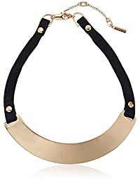 Kenneth Cole New York Flat Mate Sculptural Black Collar Leather Choker Necklace
