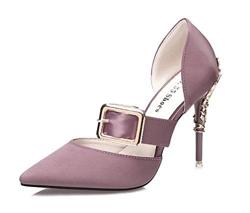 LBLX Sandalias, Versión Coreana, Zapatos de Tacón Alto de Moda, Sandalias Sexy de Club Nocturno, Sandalias de Tacón estrechas Luz Púrpura