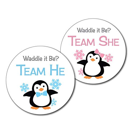 36 2.5 inch Penguin Team He and She Gender Reveal Party Stickers - Waddle it be ()