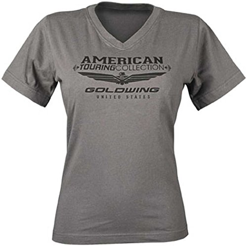 (Honda Women's Gold Wing Touring Collection V-Neck T-Shirt - 2X-Large/Charcoal)