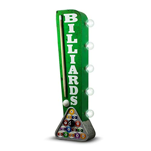 Billiards Pool Hall Reproduction Vintage Advertising Sign - Battery Powered LED Lights - Double Sided Metal Marquee Display - 25 x 6 x 4 ()