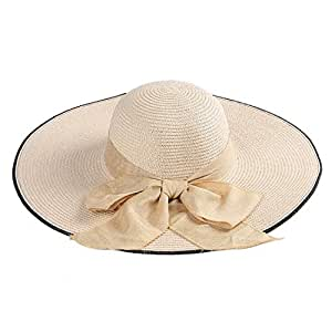 Hats Women's Summer Travel Sun Hat with Bow Solid Color Straw Hat Fashion (Color : Beige)