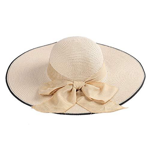 Beige Gorra Para De color Verano Sol Sombrero Gsaydnee Viaje Khaki Color Paja Con Liso Mujer Lazo HTZwqqdvx