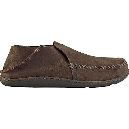 OLUKAI Men's Akahai Leather Moc Toe Slip-On,Dark Wood/Dark W