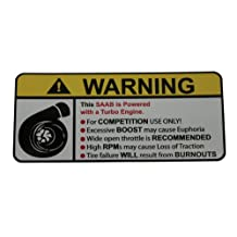 SAAB Turbocharged Engine Type II, warning decal, sticker perfect gift