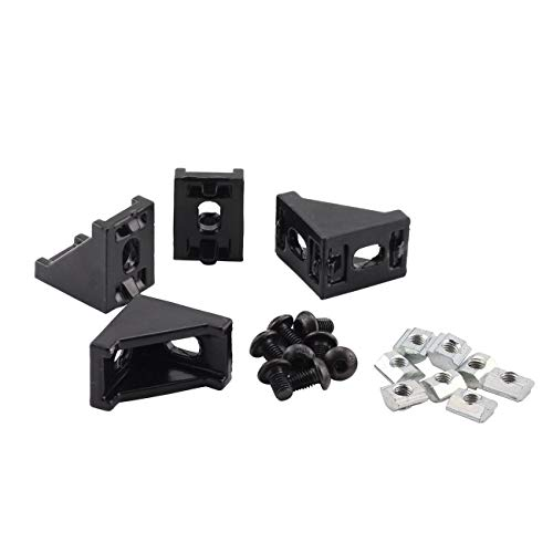 PZRT Aluminum Profile Connector Set, 4pcs Black Corner Bracket,8pcs M5 Slider Nuts, 8pcs M5x8mm Hex Socket Screw Bolt for 6mm Slot 2020 Series Aluminum Profile Accessories ()