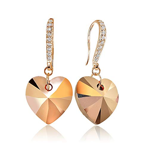 (Rose Gold Flashed Sterling Silver Rose Colored Heart Dangle Earrings Made with Swarovski)